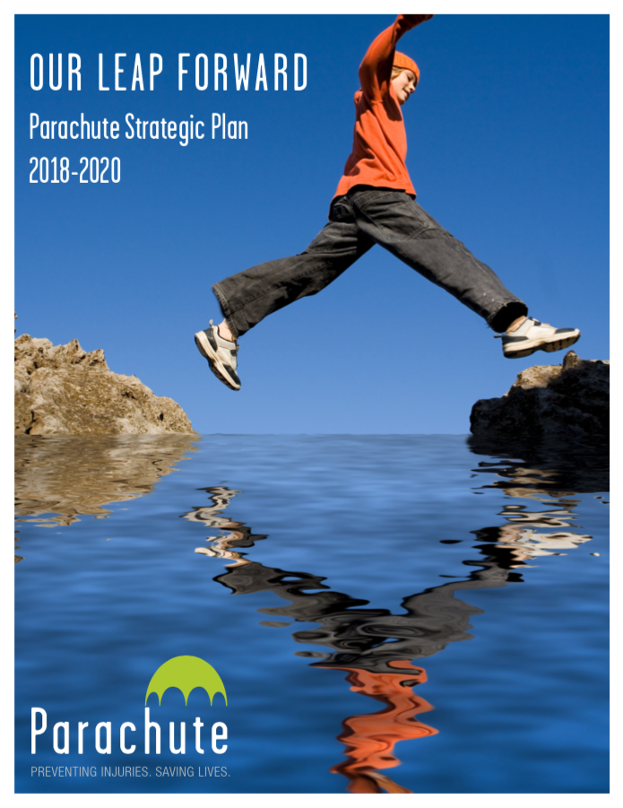 Image of child leaping from one rock to another: report cover features Our Leap Forward title and Parachute's logo