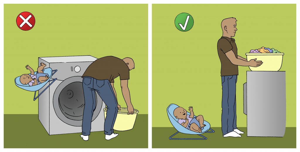 Illustration showing child in a carrier falling off of dryer (incorrect) versus child in a carrier on the floor (correct)