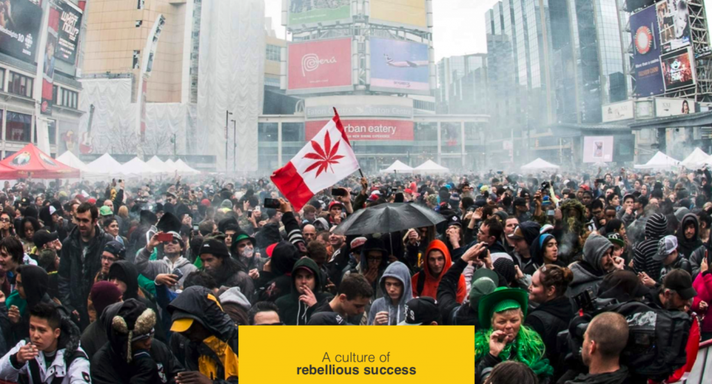 Crowd outdoors in downtown Toronto with cannabis flag