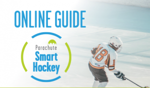 Image of child on ice rink with words Online Guide and Smart Hockey logo