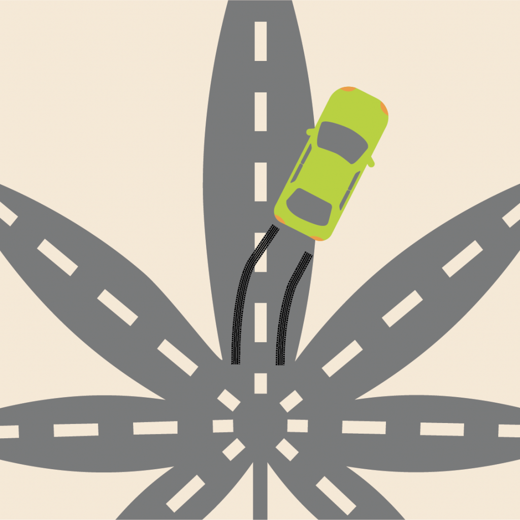Illustration of several roadways shaped like a cannabis leaf and a car skidding off one of the roads