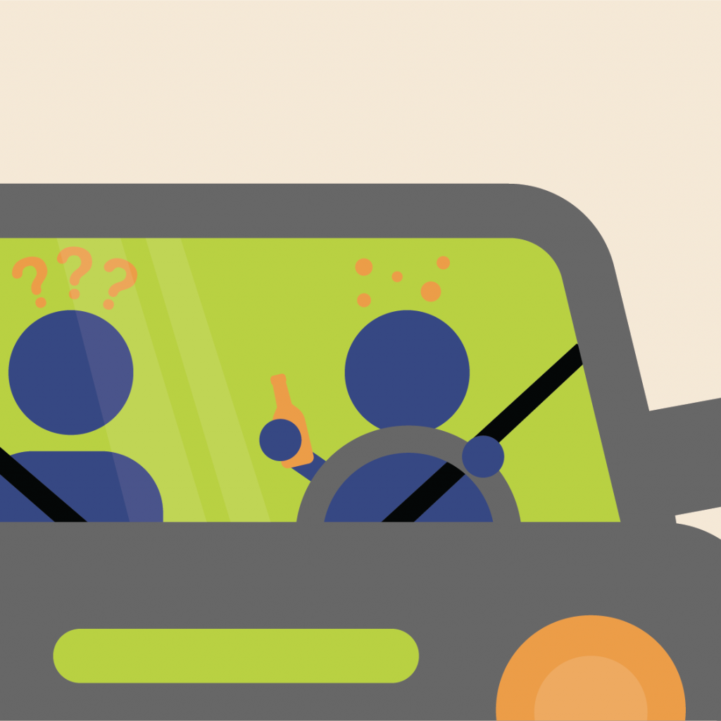 Illustration of a car driver holding a bottle, and the passenger has question marks over their head