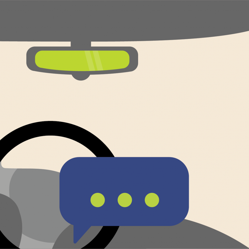 Illustration of car steering wheel with a texting bubble over it