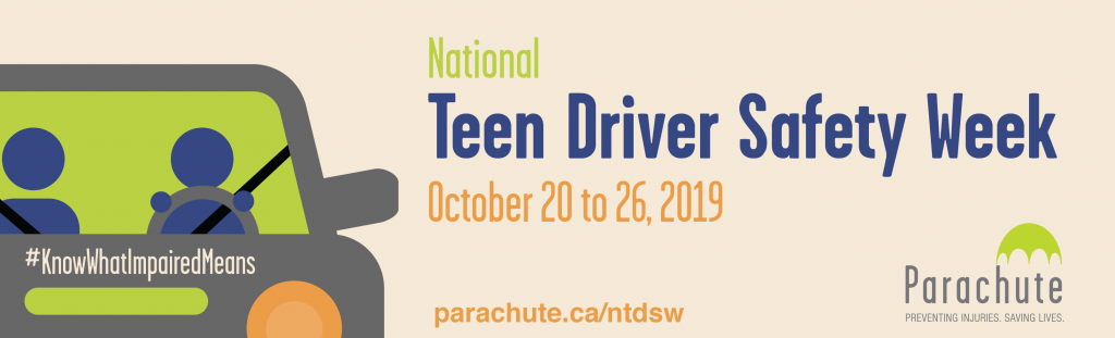 Drawing of two people in a car for National Teeen Driver Safety Week, October 20 to 26, 2019 parachute.ca/ntdsw #KnowWhatImpairedMeans