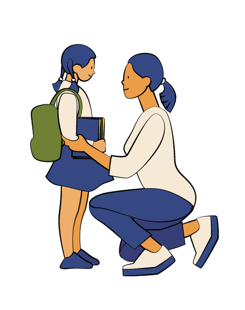 Illustration of woman kneeling on one knee, adjusting a young girl's backpack.