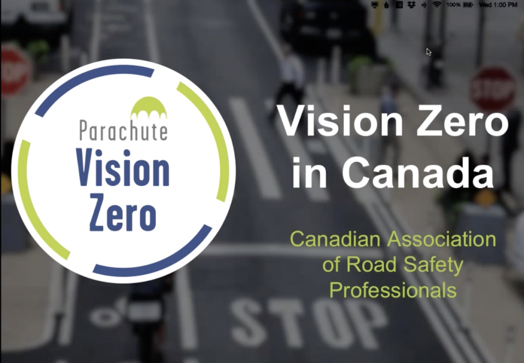 Screenshot of Vision Zero in Canada webinar