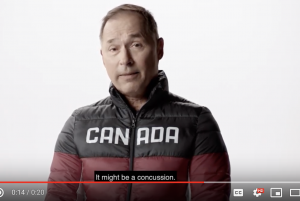 World ski champion Steve Podborski speaks to the camera