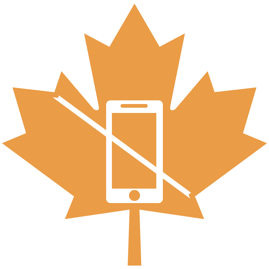No texting badge - orange maple leaf with white outline of mobile phone imposed