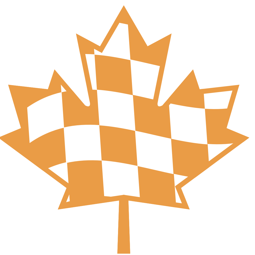 """right speed badge"" - a maple leaf styled with orange-and-white checkerboard."