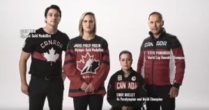 Olympians Scott Moir, Marie-Philip Poulin, Steve Podborski and Paralympian Cindy Ouellet in sports uniforms